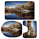 3 Piece Bath Mat Rug Set,Yosemite,Bathroom Non-Slip Floor Mat,Yosemite-Mirror-Lake-and-Mountain-Reflection-on-Water-Sunset-Evening-View-Picture,Pedestal Rug + Lid Toilet Cover + Bath Mat,Navy-Brown