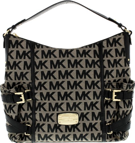 Michael Kors Women's Gansevoort Large Signature Shoulder Tote Top-Handle - Beige/Black/Black - 38S2CGVL3J-BEIGE.BLACK.BLACK