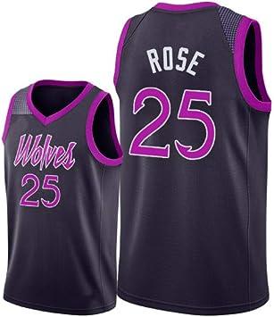 Color : Black, Size : XXXL Traje Deportivo de Entrenamiento de Baloncesto Camiseta de Manga Corta Camiseta MKJYDM Derrick Rose Transpirable Que Absorbe el Sudor