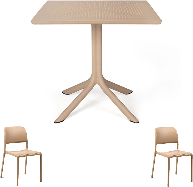 : ANGEBOT Tisch Clip 80 x 80 + 2 Stühle Riva Avana