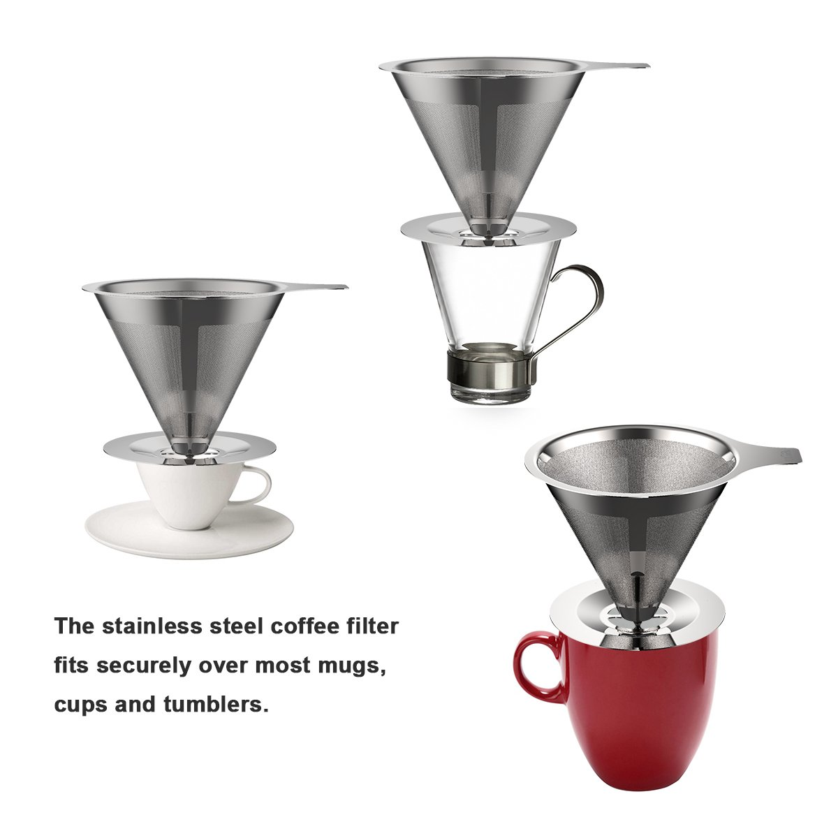 Pour/ Over/ Coffee/ Dripper/ -ULuck Dual/ Pour/ Over Coffee/ Filter Cone/ Stainless Steel with/ Cup/ Stand/ and/ Cleaning/ Brush/ -/ Paperless/ /&/ Reusable Gooluck