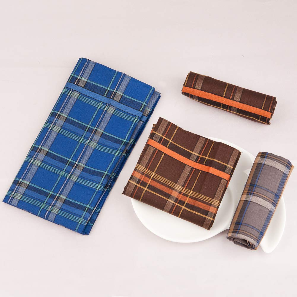 3 Colors 16 Houlife Mens 100/% Cotton Striped Handkerchief with Assorted Color Vintage Hankie 16 Inches