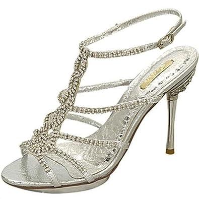 Shoehorne - Joyce09 Womens Silver Rhinestone/Diamante Strappy High ...