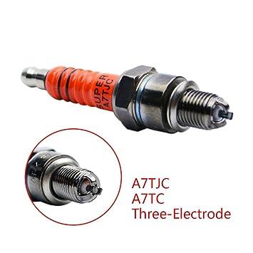 3 electrodo motocicleta bujía A7TC alto rendimiento triple electrodo reemplazar para C7HA C7HAS: Amazon.es: Coche y moto