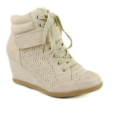 Damen Sneakers Keilabsatz Stiefeletten Wedge Plateau Boots