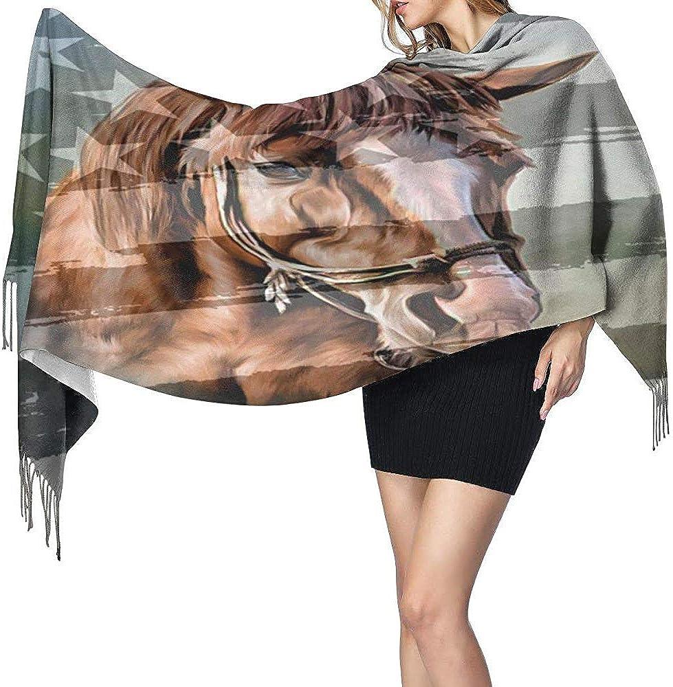 Bufanda Bandera americana de cabeza de caballo Bufanda Bufanda cálida de invierno Bufanda Pañuelo portátil Bufanda de cuello cómoda Bufanda Pañuelo para el cuello