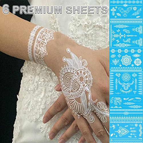 GIFT!! New Tastto 6 Sheets Henna Body Paints Jewelry Temporary Tattoos White Lace Stickers for Girls and Women with GIFT (6 (Tribal Print Tattoos)