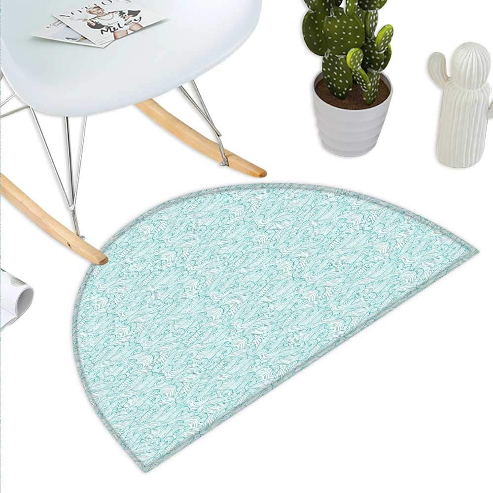 color05 H 27.5\ Turquoise Semicircle Doormat Ocean Themed Waves Abstract Swirls Curlicues Lines Ornamental Vintage Summer Halfmoon doormats H 27.5  xD 41.3  Pale bluee White