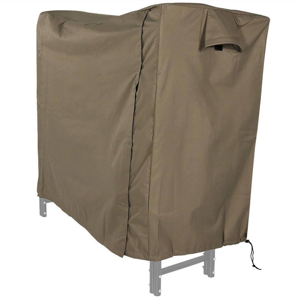Sunnydaze 5-Foot Firewood Log Rack Cover – Outdoor Waterproof Heavy Duty Khaki Polyester and PVC Wood Pile Cover – Protective Log Rack Holder Storage Accessory