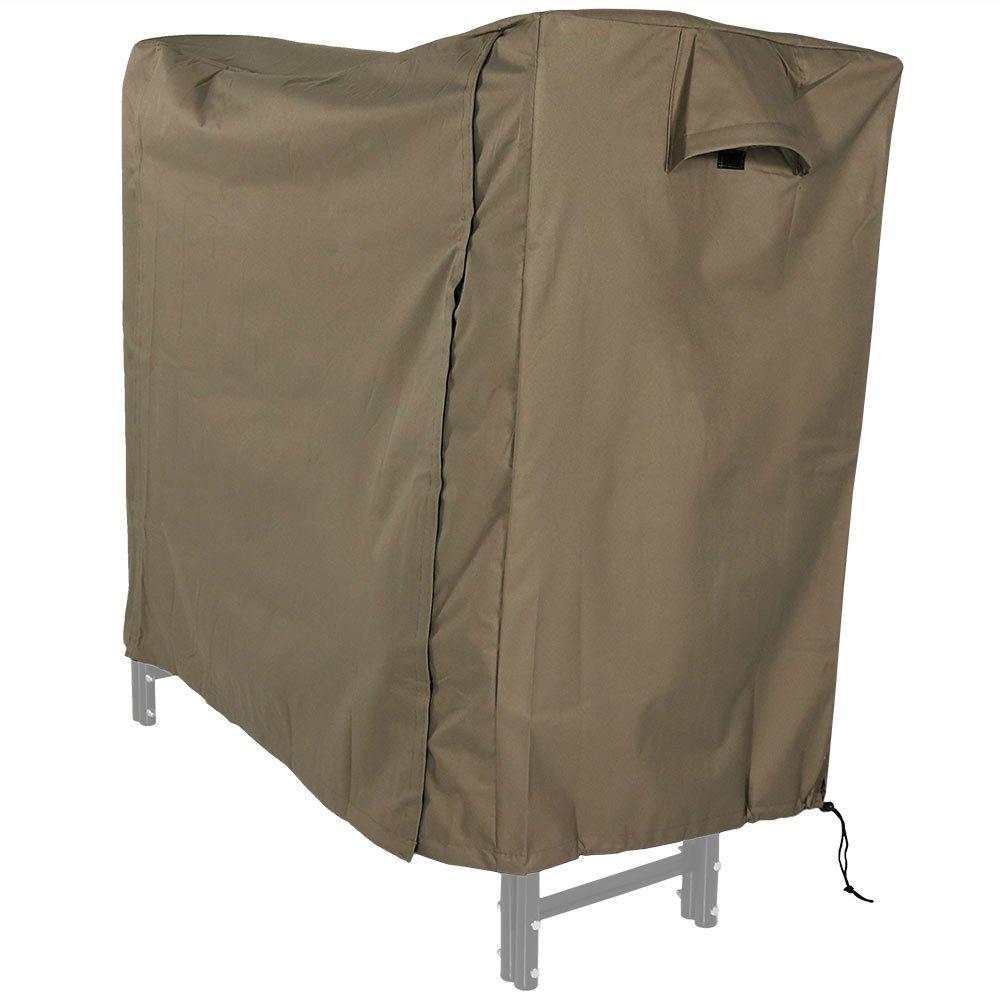 Sunnydaze Firewood Log Rack Cover, Outdoor Waterproof Heavy Duty Wood Cover, Khaki, 5 Foot