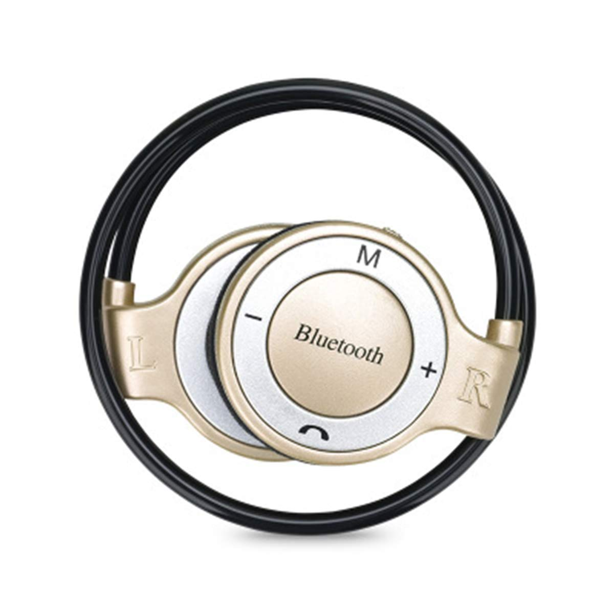 TFカードメモリ拡張スポーツバックイヤーフック Bluetoothイヤホン ビジネスステレオヘッドセット マイク&ボリュームコントロール付き (カラー:ゴールド) B07MCNL2FQ