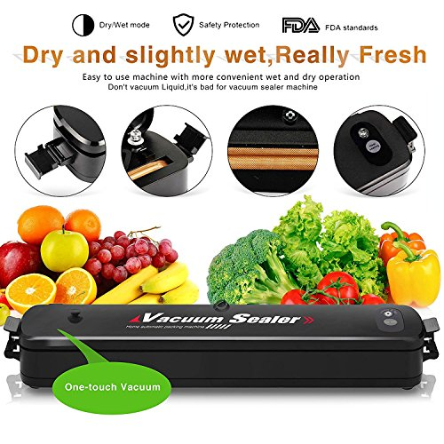Vacuum Sealer, Automatic Food Sealer Machine, Food Vacuum Packing Machine for Vacuum and Seal for Food Savers and Sous Vide With 15pcs Sealer Bags by Zabring (Image #2)