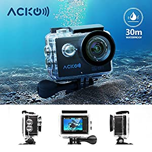 "Acko 4K Wifi Sports Action Cam Camcorder Ultra HD Digital Camera DV 12MP High Speed Image 720 Degrees Wide Angle 2"" TFT LCD Screen+2.4G Remote Control+2x 1050mAh Batteries+Mounts+Carrying Bag"
