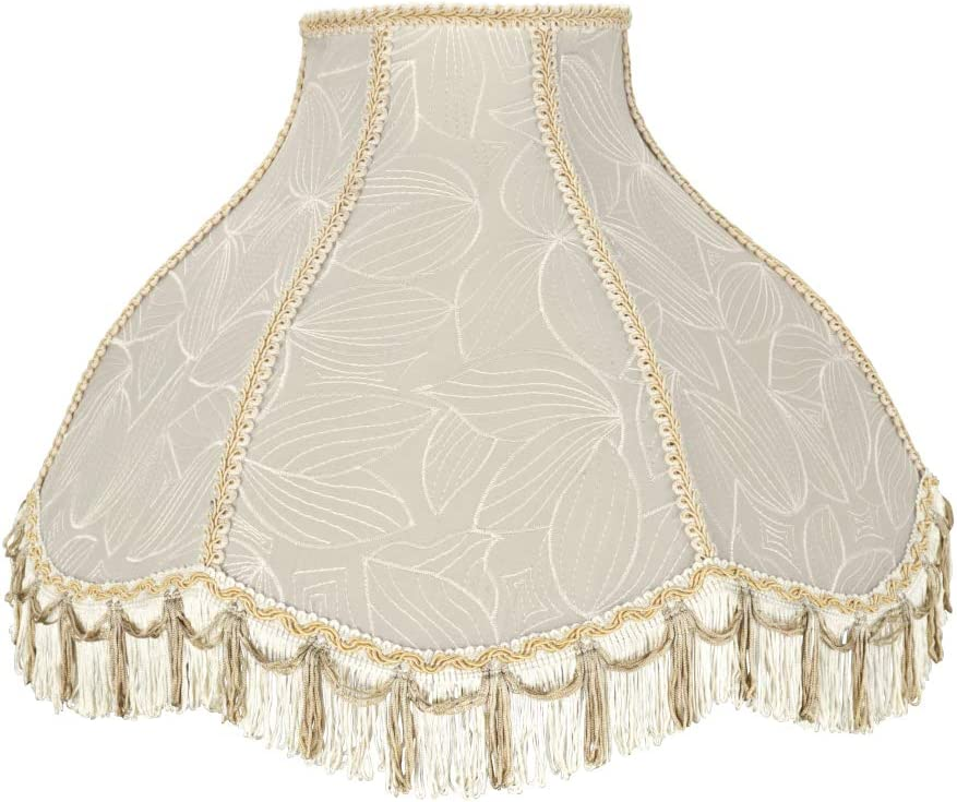 Aspen Creative 30043 Transitional Scallop Bell Shape Spider Construction Lamp Shade in Beige 17 wide 6 x 17 x 12