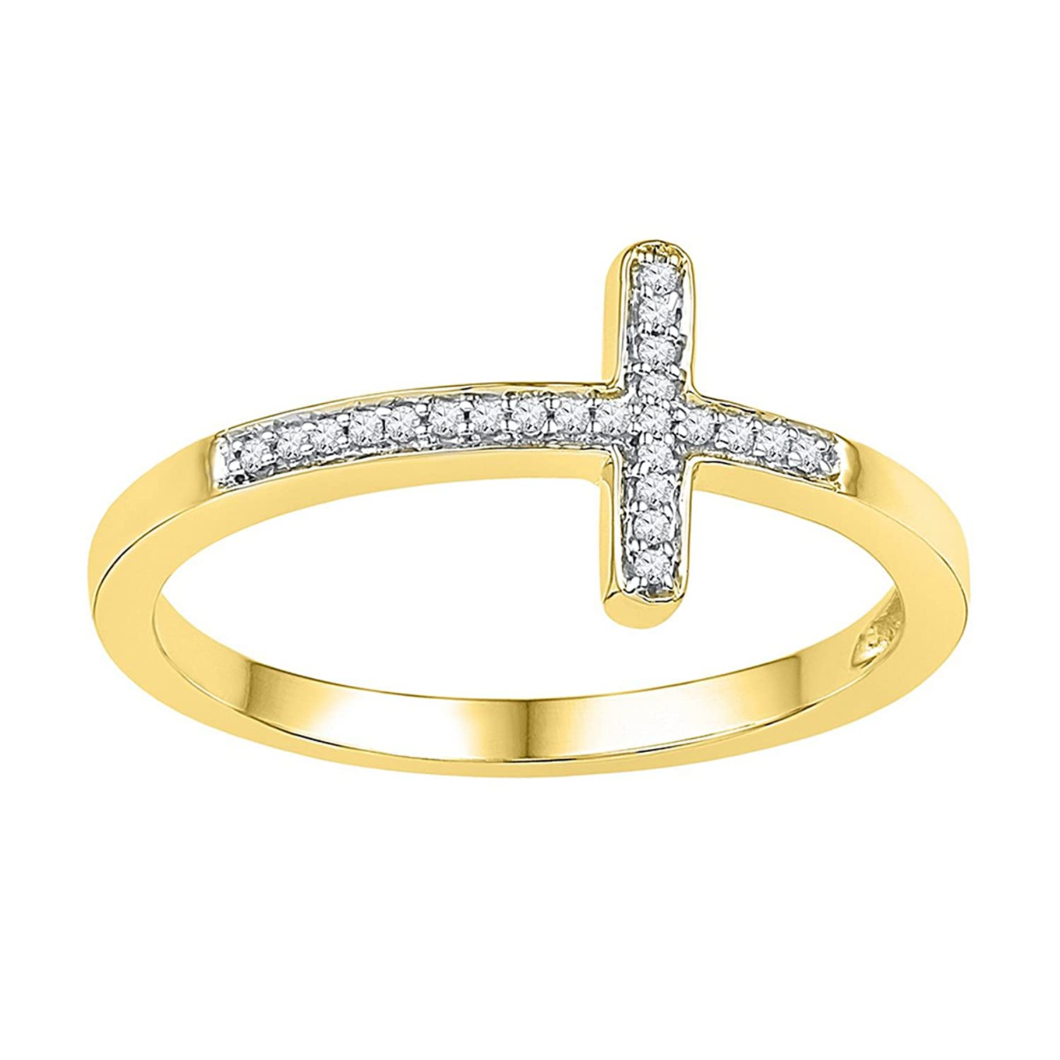 10kt Yellow Gold Womens Round Natural Diamond Cross Faith Band Fashion Ring (.05 cttw.)