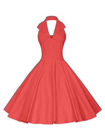 d0e556134511 Maggie Tang Women's 1950s 60s Vintage Rockabilly Halter-Neck Swing Dress  Red L