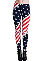 Ladies Diagonal American Flag Print Leggings