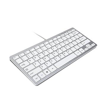 TRIXES Minimal Slim Mini USB Teclado Plateado & Blanco (Formato de E E.U ...