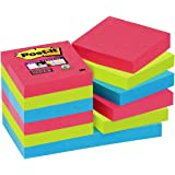 Post-it 62212SJ Haftnotiz Super Sticky Notes (47.6 x 47.6 mm) 12 Blöcke á 90 Blatt mohnrot/neongrün/ultrablau