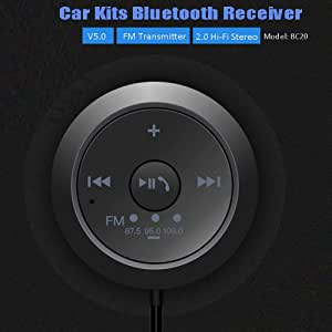 JX2 USB Bluetooth Receiver 4.2 USB Bluetooth Adapter for Car//PC USB Bluetooth Audio Receiver Home Music Stereo- Bluetooth Dongle with AUX-in 3.5 mm Black