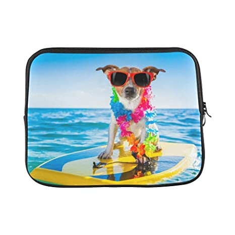 f5c3ac5f5685 Amazon.com: InterestPrint Funny Dog with Surfboard Wearing Flower ...