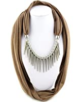 Ysiop Women Polyester Solid Necklace Scarf Tassel Neckerchief Metal Feeling Strip Pendant