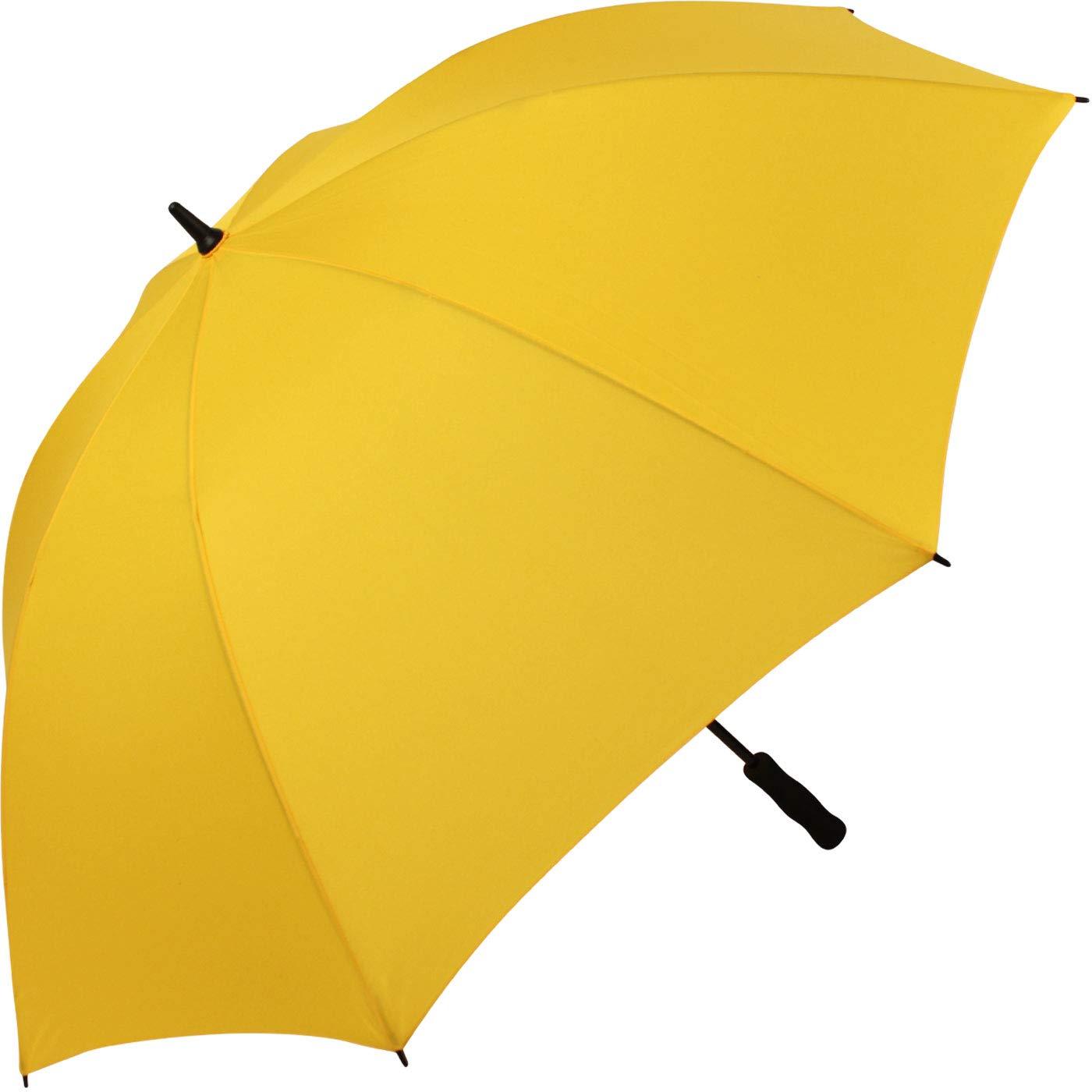 iX-brella Leichter Voll-Fiberglas- Regenschirm für 2 Personen 130 cm - Größe XXL - Golfschirm stabil - gelb
