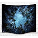 Starry Forest Tapestry Wall Hanging, Starry Milky Night Galaxy upon Wood Shining Night of Life Living Room Bedroom Decor Psychedelic Bohimian Wall Art Tapestry 50 X 60 Inches