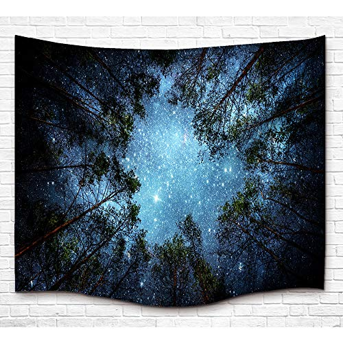 Galaxy Space Tapestry Wall Hanging, Universe Theme Asterism Star Wall Decor Blanket Bohemian Out Space Tapestry Colored Printed Decorative Mandala Tapestry Wall Carpet (90L X 60W Inches, Style 2) ()