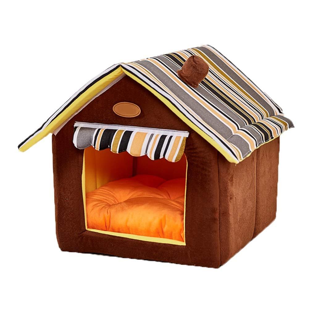 A Large A Large Pet house Large Dog House,House Shape Pet Bed Basket Indoor Dog Mat Detachable (color   A, Size   L)