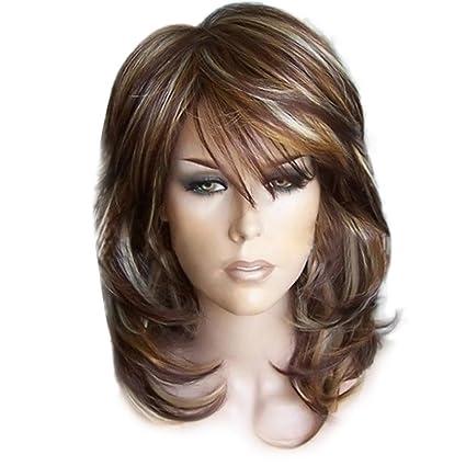 Amazon Com Short Wigs Inkach Womens Bob Wig Medium Side