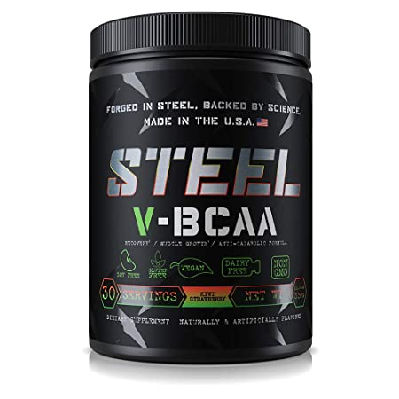Steel Supplements V-BCAA Vegan High Performance BCAA Powder Soy Free, Gluten Free Build Lean Muscle, Burn Fat 30 Servings Kiwi Strawberry