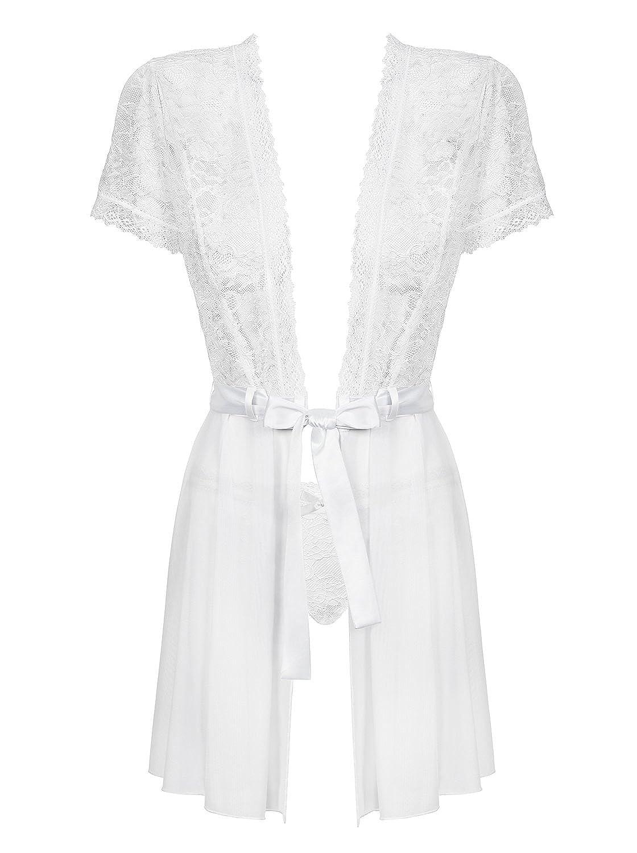 Weißer transparenter Damen Morgenmantel aus Netz mit Satin Gürtel und Spitze inklusive Pantie