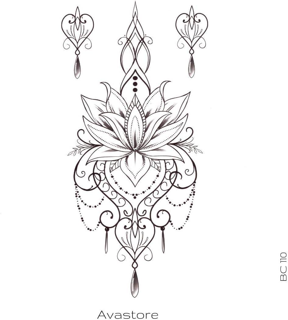 Avastore - Tatuaje temporal, flor de loto con oriental, tatuaje ...