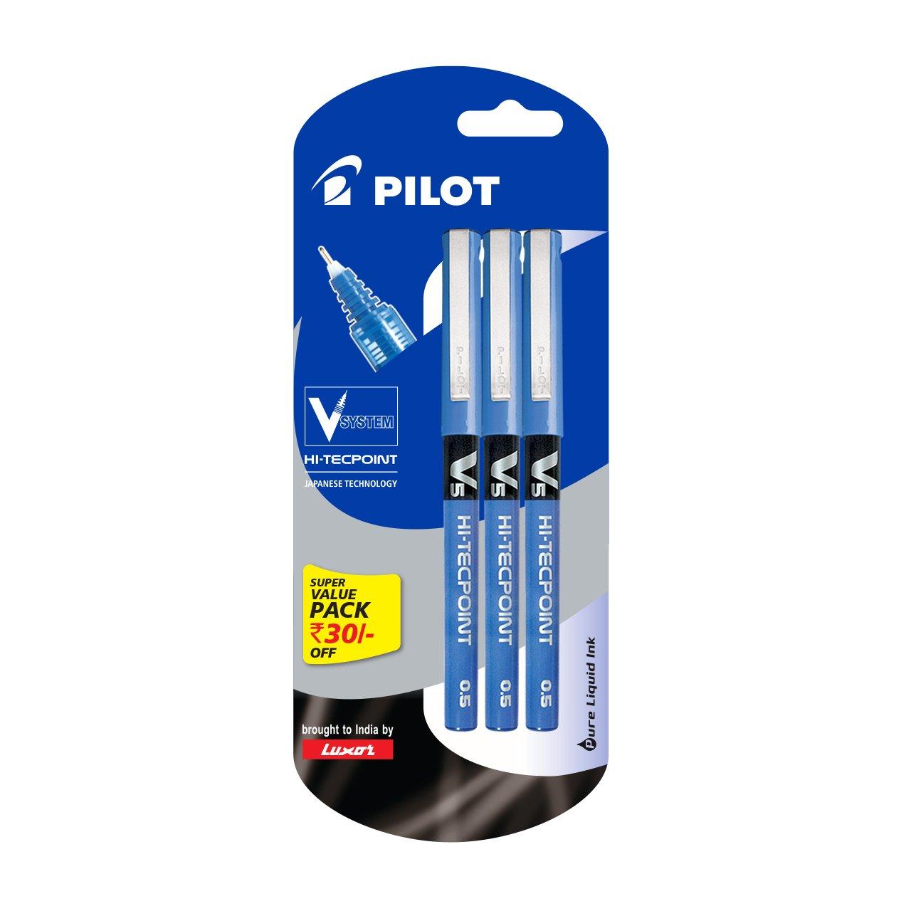 Pilot V5 Pen Liquid Ink Roller Ball Pen - Pack of 3, Blue
