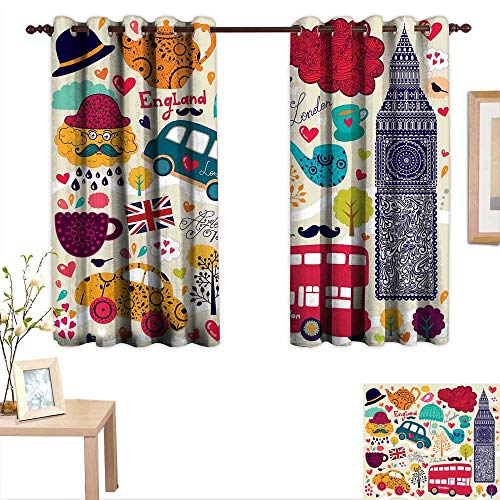 Luckyee London Decorative Curtains for Living Room Colorful Local Symbols Painting Red Bus Big Ben Tea Pot Cup Umbrella and Retro Cab 63