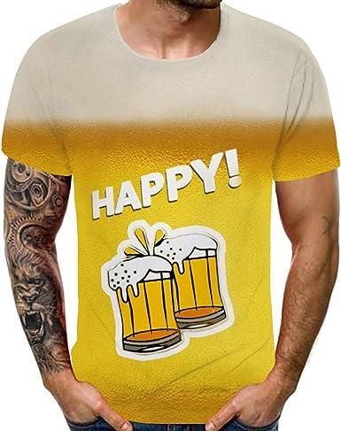 3D Camiseta de Manga Corta con Estampado de Cerveza para Hombre Camisa de Playa para Hombre Casual Hawaii Summer Camisetas Tops Blusa (L, Amarillo): Amazon.es: Ropa y accesorios