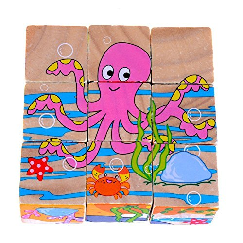 DDTOP 9 Pcs 3 Dimensional Multicolor Solid Wood Sea Animal Series Pattern Jigsaw Puzzle Include Octopus Crab Dolphin Shark Turtle Lobster Non-Toxic Building Block - Polished 3 Dolphin Dimensional