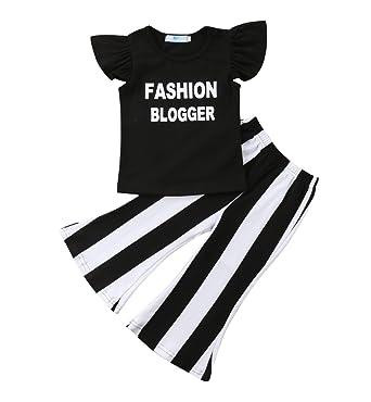 d2e7a3b1a Amazon.com  Kids Toddler Baby Girl Ruffle Sleeve Fashion Blogger T ...