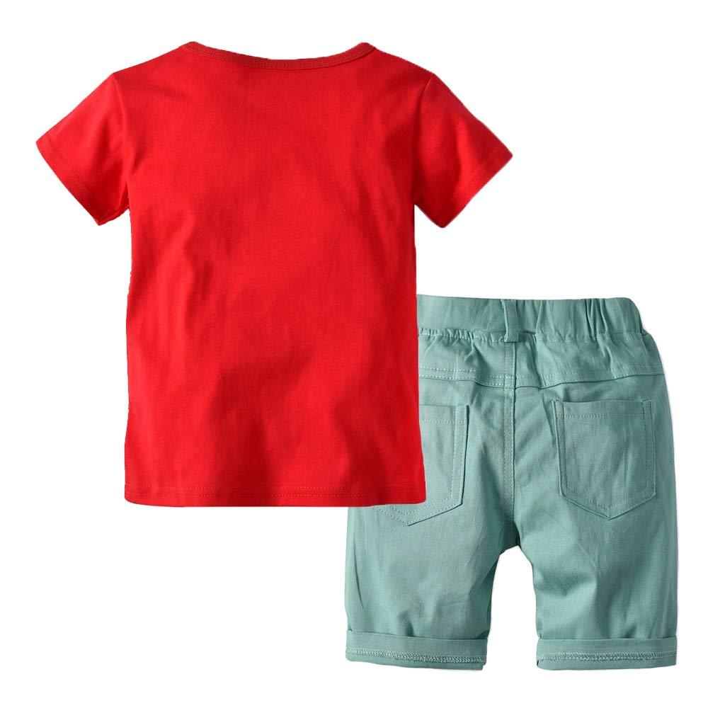 Jellyuu Boys Girls Dinosaur Crocodile T-Shirt and Short Set 2 Pieces Outfits