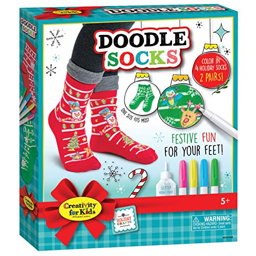Creativity for Kids 6197000 Holiday Doodle Socks, Multicolor ()