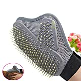 Wenjuan Pet Cleaning Supplies Massage Gloves Comb Grooming Glove Hair Removal Mitts Gentle Brush Cat Dog Long Short Fur Hair (Gray)