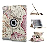 Revesun Purple 360 Rotating Map pattern PU Leather Case Smart Cover Stand for ipad mini 2 Apple iPad Mini