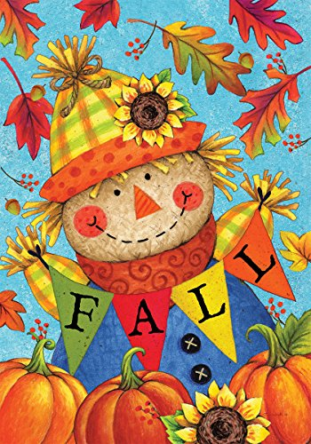 Custom Decor Fall Scarecrow - Standard Size, Decorative Double Sided, Licensed and Copyrighted Flag - Printed in the USA by Inc. - 28 Inch X 40 Inch approx. size