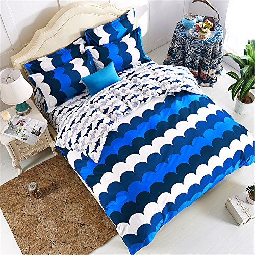 EsyDream Home Bedding,Blue Ocean Fish Kids Duvet Cover,4Pc Sets Queen Twin Size Shark Bedding Linen For Children,Cotton & microfiber (No Comforter),Queen/Full Size (4pc Set) (Shark Full Size Sheets compare prices)