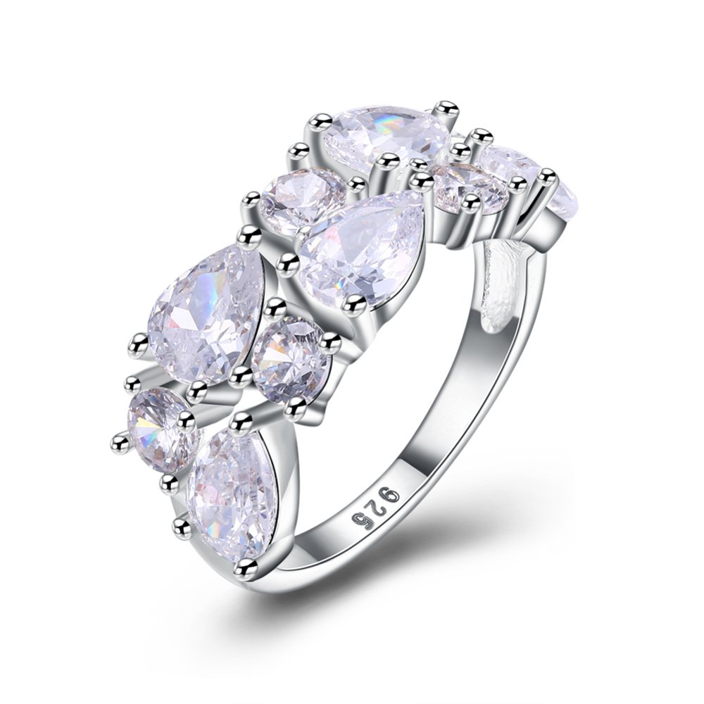 Fashion jewelry Silver ring white stone Gift Party Anniversary Wedding Ring for women R2144 Garilina