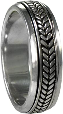 Size 4-15 Sterling Silver Woven Celtic Knot Spinner Worry Ring