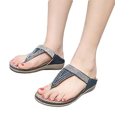 Calzado Chancletas Tacones Zapatos Planos de Mujer Bohemia del Grano Lady Slippe Sandalias Peep-Toe Zapatillas al aire libre ❤️ Manadlian