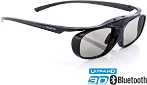 Hi-SHOCK RF Pro Black Heaven | 3D Active Glasses for FullHD/HDR / 4k EPSON Projector Powerlite Home Cinema 2000, 2030, 2040, 2045, 3000, 3500, 3600e, 4030UB, 5020, 750HD | Rechargeable