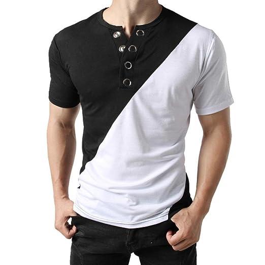 fc7b01753 Amazon.com: Alonea Button Polo Shirt, Men Button Short Sleeve Fit Pollover Shirt  Patchwork T-Shirt Muscle Top Tops: Clothing
